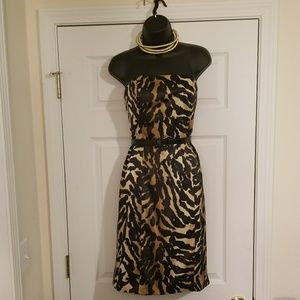 Black and tan strapless dress